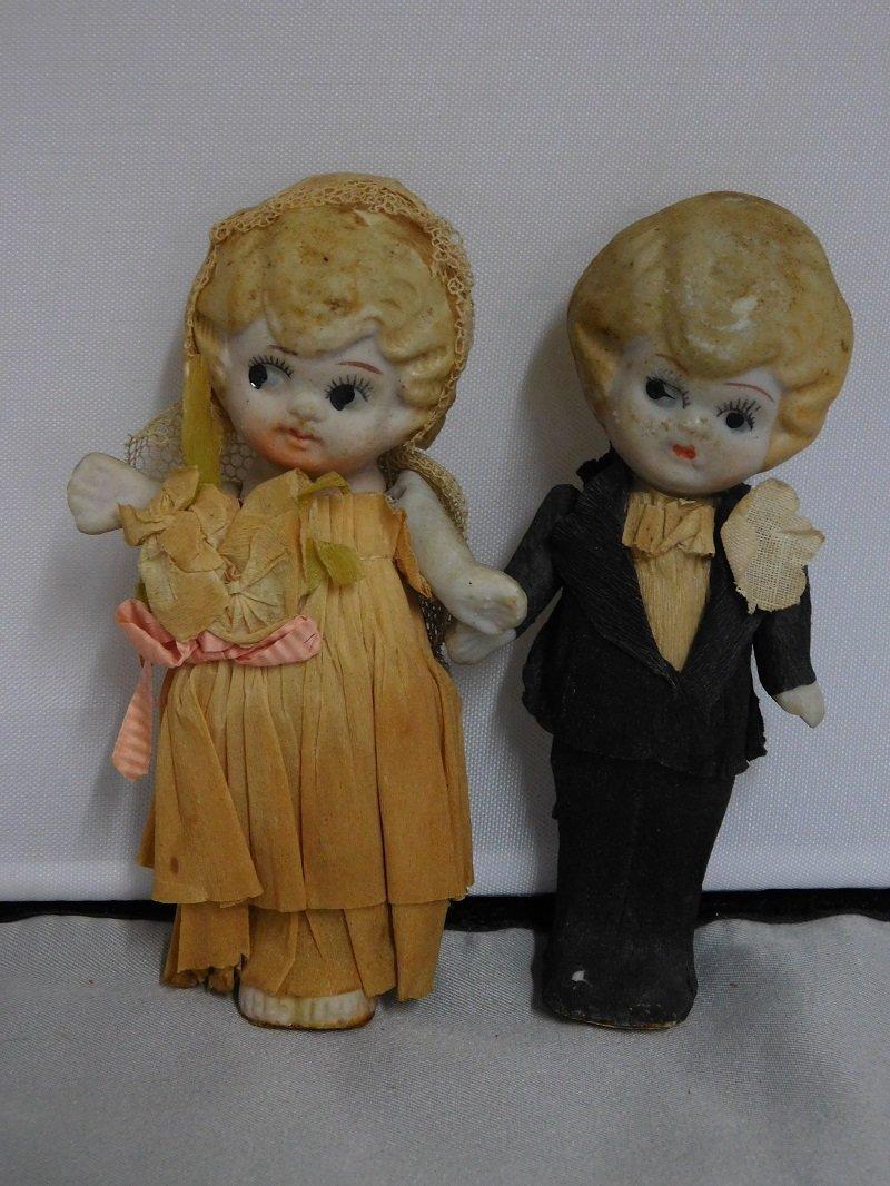 Antique Kewpie Wedding Cake Topper Dolls
