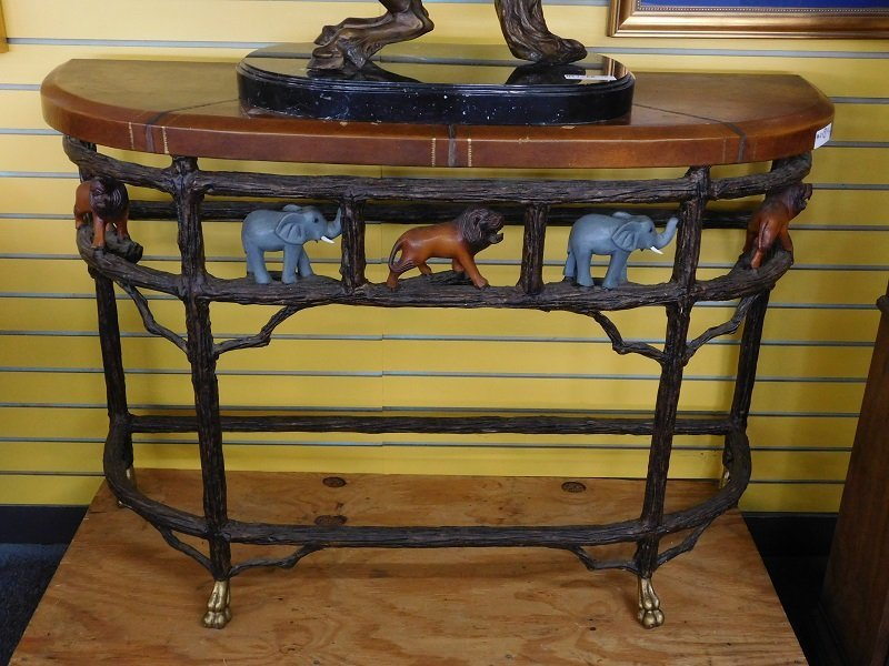 Leather Top Wall/Foyer Table with Ornate Wildlife Base