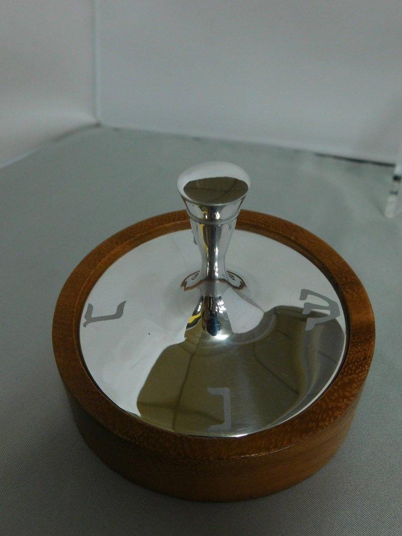 Chrome Dreidel with Wooden Base