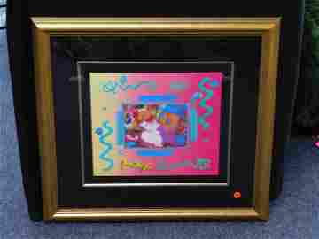 "Peter Max Framed Mixed Media ""Flower Blossom Lady"""
