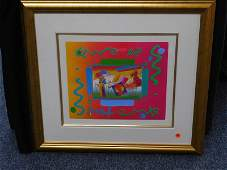 "Peter Max Framed Mixed Media ""I Love the World"""