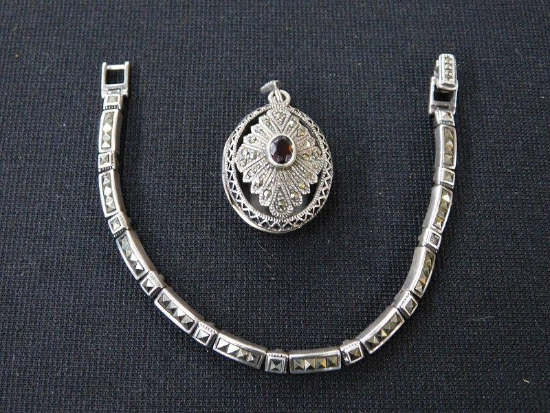 Silver Marcasite Bracelet and Locket Pendant