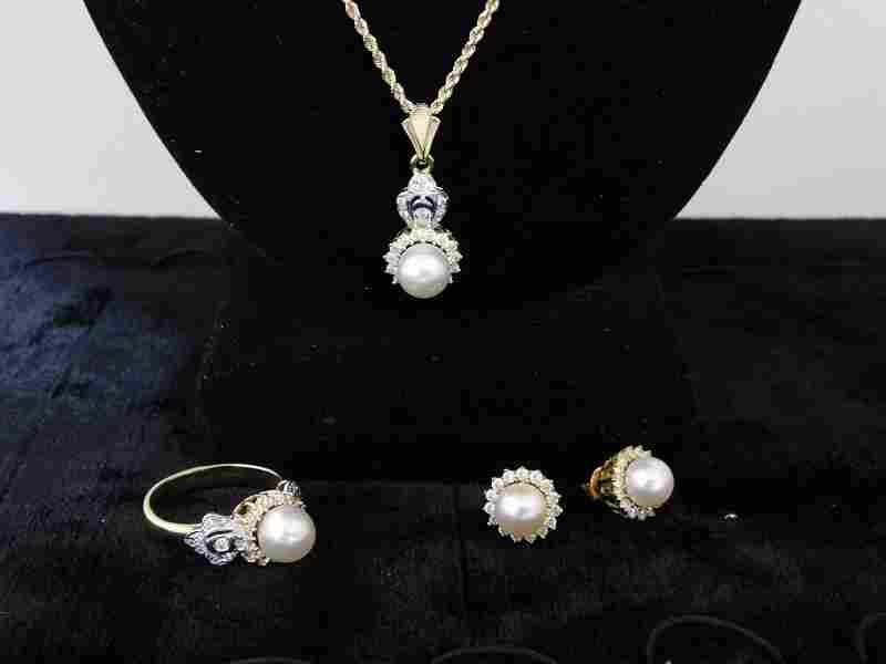 Pearl and Diamond Necklace, Ring, Earring Set