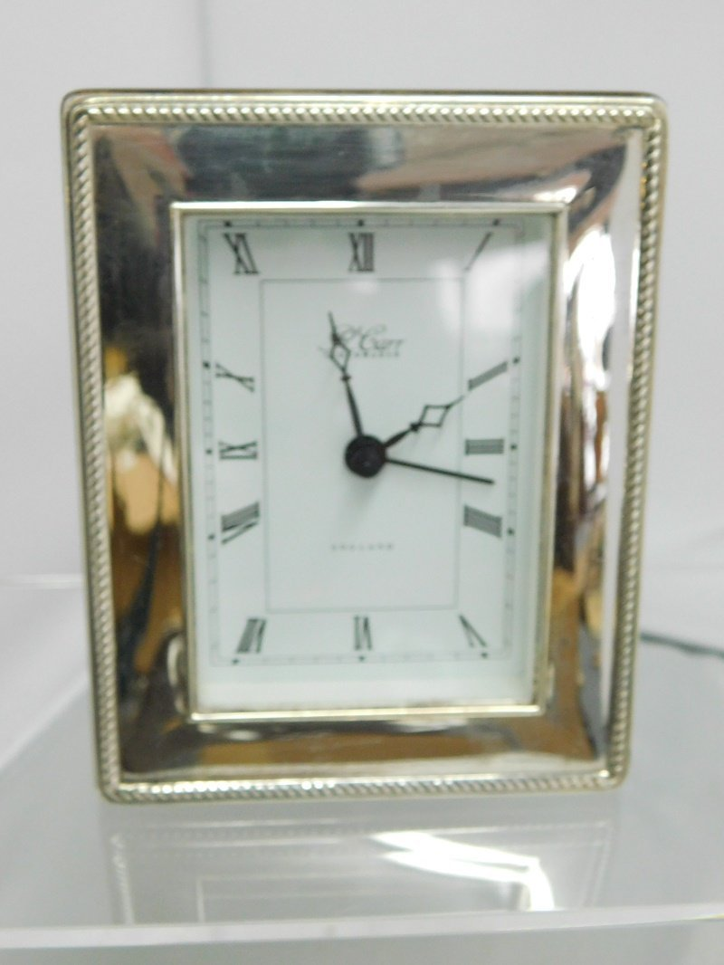 Silver Plate Clock by R. Carr Clockmaker England