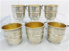 Set of Six Silver Plated Christofle Cups