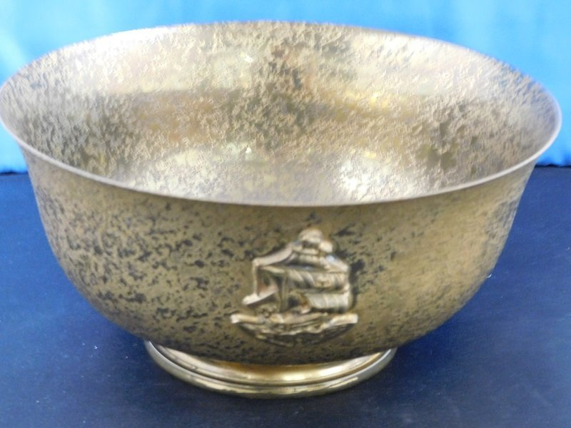Tiffany Furnaces Gold Gilt Favrile Bowl w/Ship