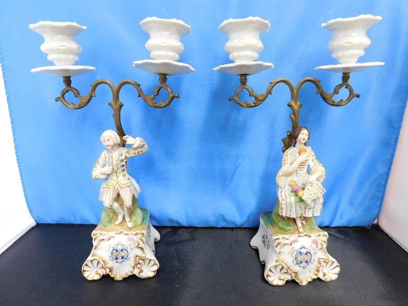 Pair of Porcelain Candelabras