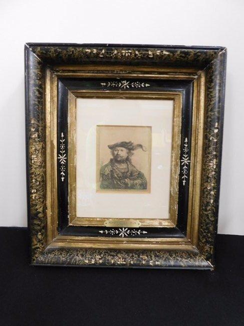 Framed Etching of Rembrandt Van Rijn