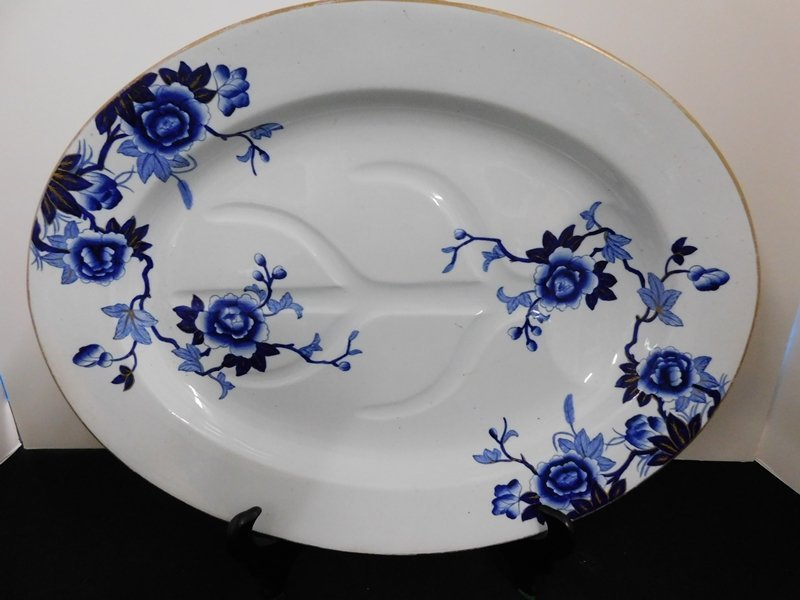 Large Blue and White Ironstone Platter