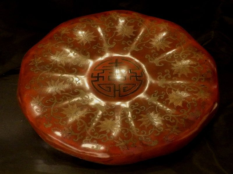 Arge Chinese Pumpkin Shaped Lacquer Box