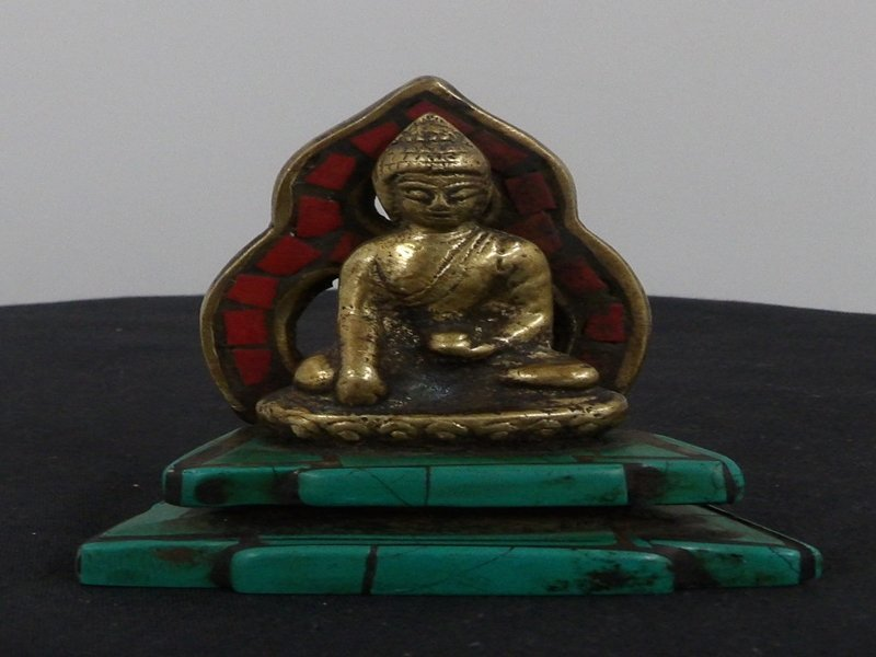 Brass Buddha with Tourqoise and Coral