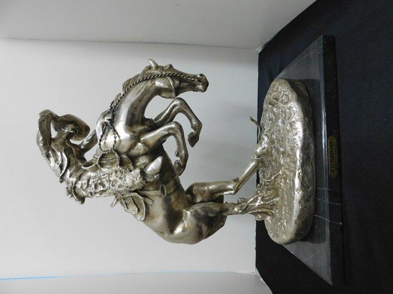 "Silver Plate Remington Statue ""Rattlesnake"""