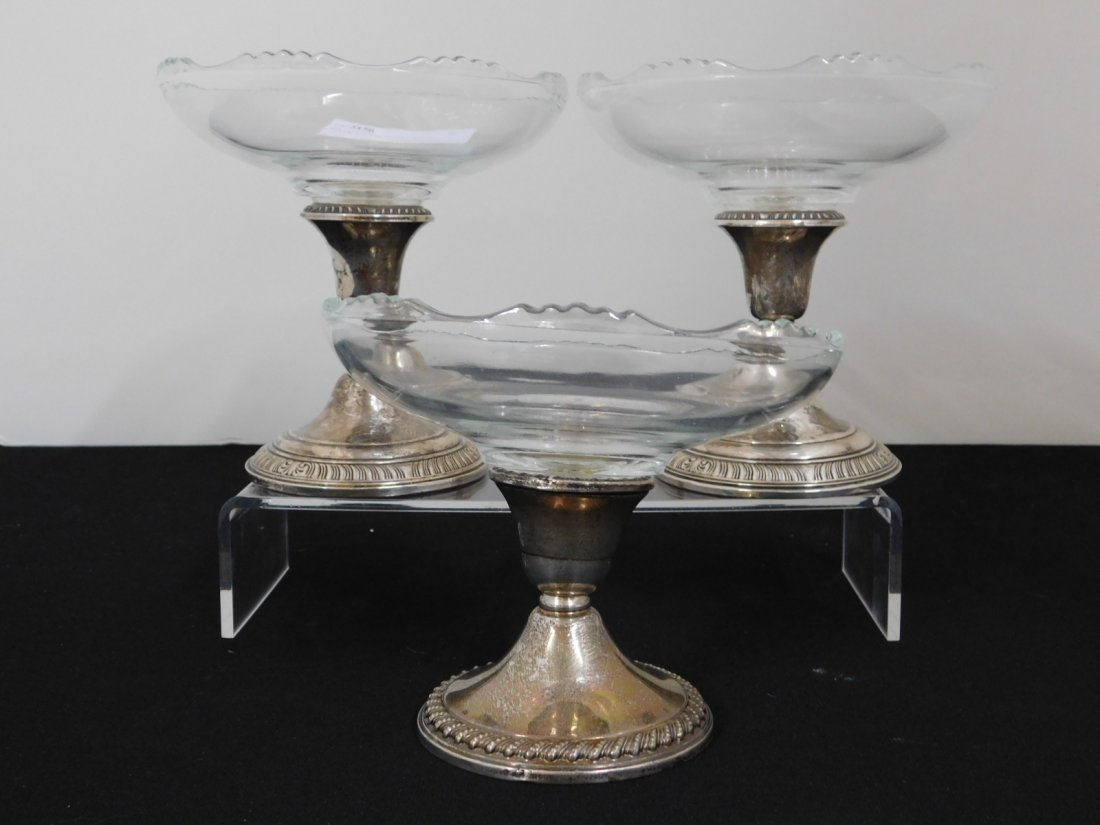 Group of 3 Sterling Silver and Glass Pedestal Bowls