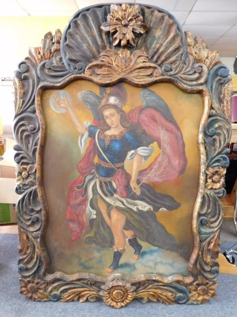 St. Michael Banishes Devil to the Abyss Oil on Canvas