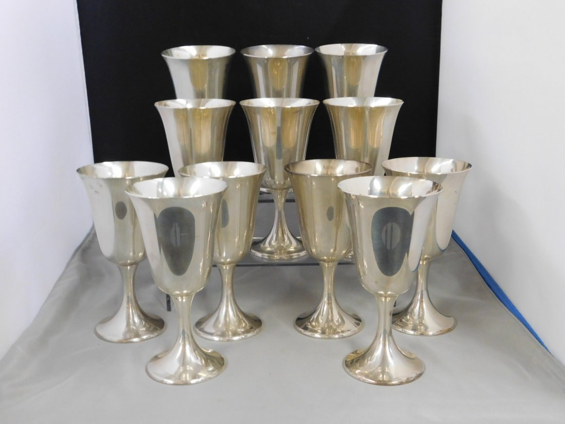 Set of 12 Sterling Silver Wine Glasses