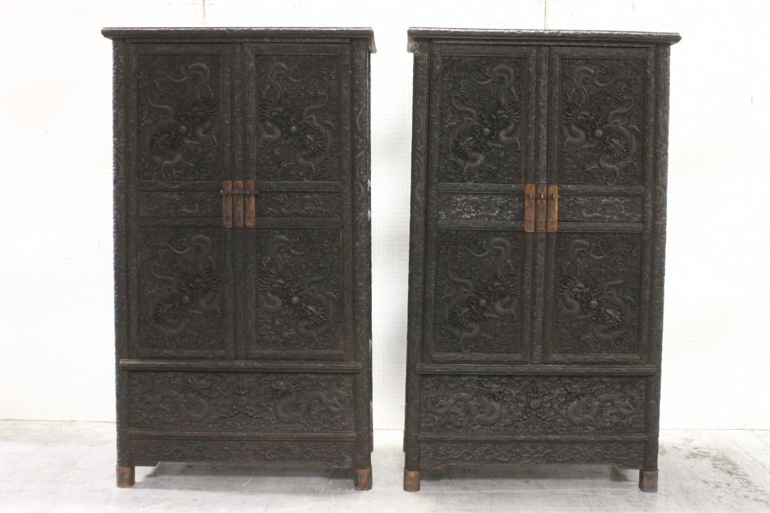 Pair of Magnificent Zitan Cabinets