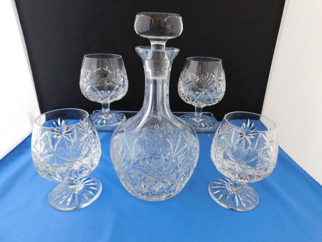 Atlantis Crystal Decanter and 4 Brandy Snifters