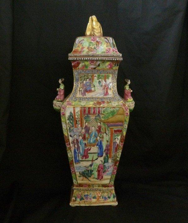 Large Famille Rose Lidded Vase