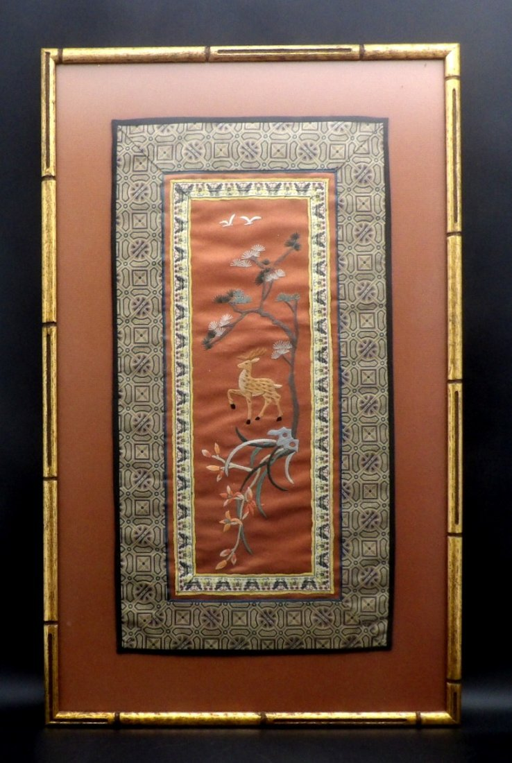 Chinese Hand Embroidered Embroidery Silk Panel Textile