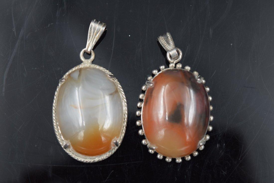 2 Agate Stone Pendants
