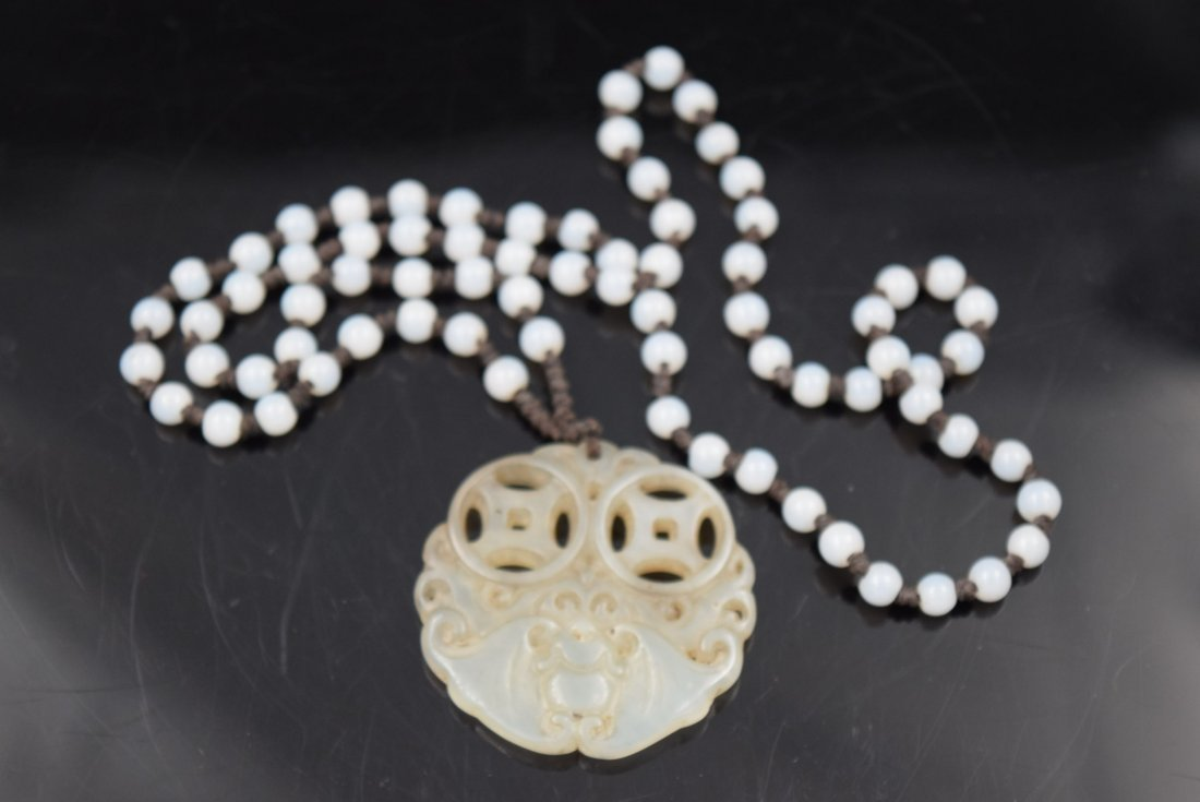 Chinese Jade Necklace with Carved Bats Pendant