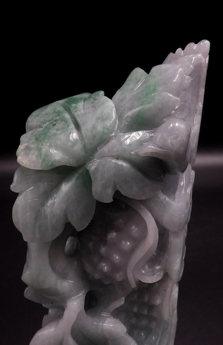 Large Chinese carved lavender and green jade