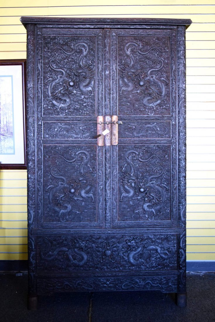 Chinese Carved wooden Cabinet with Dragons and Clouds