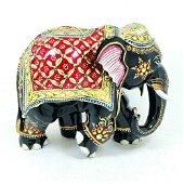 Elephant Hand Paint Art Work Handcrafted Wooden