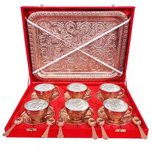 Royal Mughlai Style Copper Cup and Saucer Set