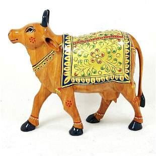 "Cow Hand Carved Paint Art Work Wooden Sculpture 5"""