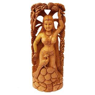 Lady Under Tree Hand Crafted Wooden Statue