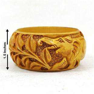 """Hand Carved Bangle / Bracelet Wooden Jewelry 3"""""""