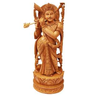 Lord Krishna Hand Crafted Wooden Statue
