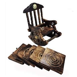 Wooden Antique Look Chair Shape Coaster Set
