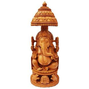 Lord Ganesha Hand Crafted Wooden Statue