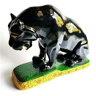 Black Panther Hand Paint Art Work Handcrafted Wooden