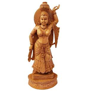 Traditional Lady Hand Crafted Wooden Statue