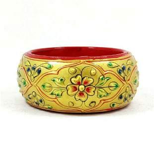 Hand Carved Bangle / Bracelet Hand Paint Art Wooden