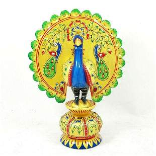 Dancing Peacock Hand Carved Wooden Paint Art Work