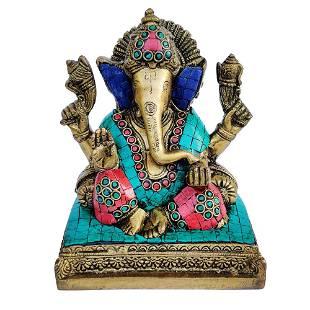 Brass Idol of Lord Ganesha Studded Stones - 7 inch