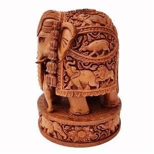 Elephant Hunting Lion Hand Carved Sandal Wood Statue