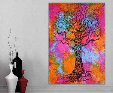 Twin Size Wall Hanging Tapestry Tree of Life Mandala