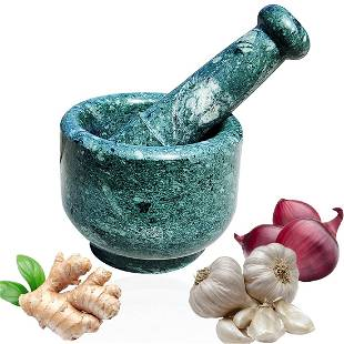 """Green Marble Mortar and Pestle Set 4"""""""