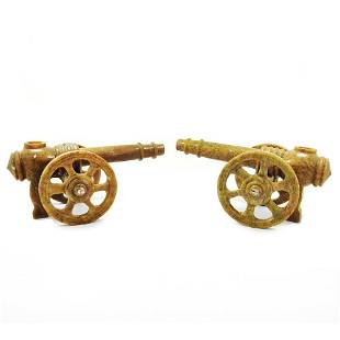 Marble Handcarved Cannon Pair