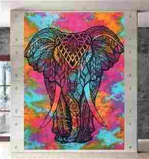 Psychedelic Front Face Elephant Cotton Tapestry Printed