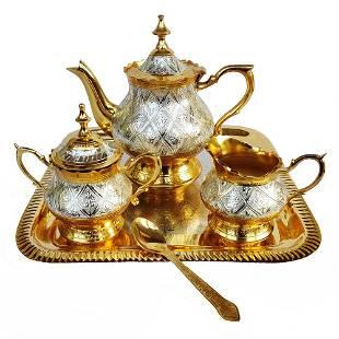 Royal Mughlai Style Brass Kettle Set