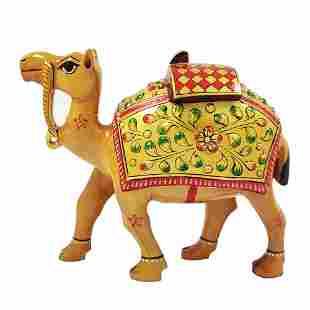 Wooden Camel Handcarved Art Work Statue