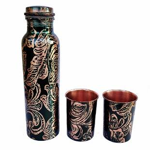 Pure Copper Art Printed Bottle and Glass Set
