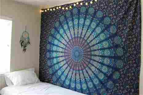 Blue Mandala Tapestry - Wall Hanging, Beach Throw,