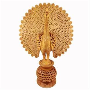 Wooden Handcrafted Peacock Dancing Idol